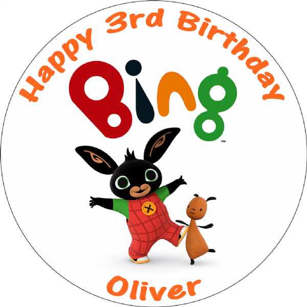 BING BUNNY PERSONALISED EDIBLE ROUND CAKE TOPPER